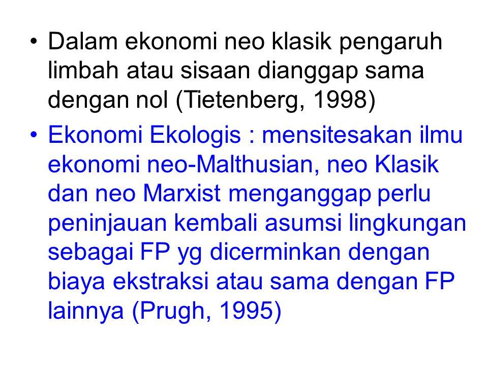 Dalam ekonomi neo klasik pengaruh limbah atau sisaan dianggap sama dengan nol (Tietenberg, 1998) Ekonomi Ekologis : mensitesakan ilmu ekonomi neo-Malt