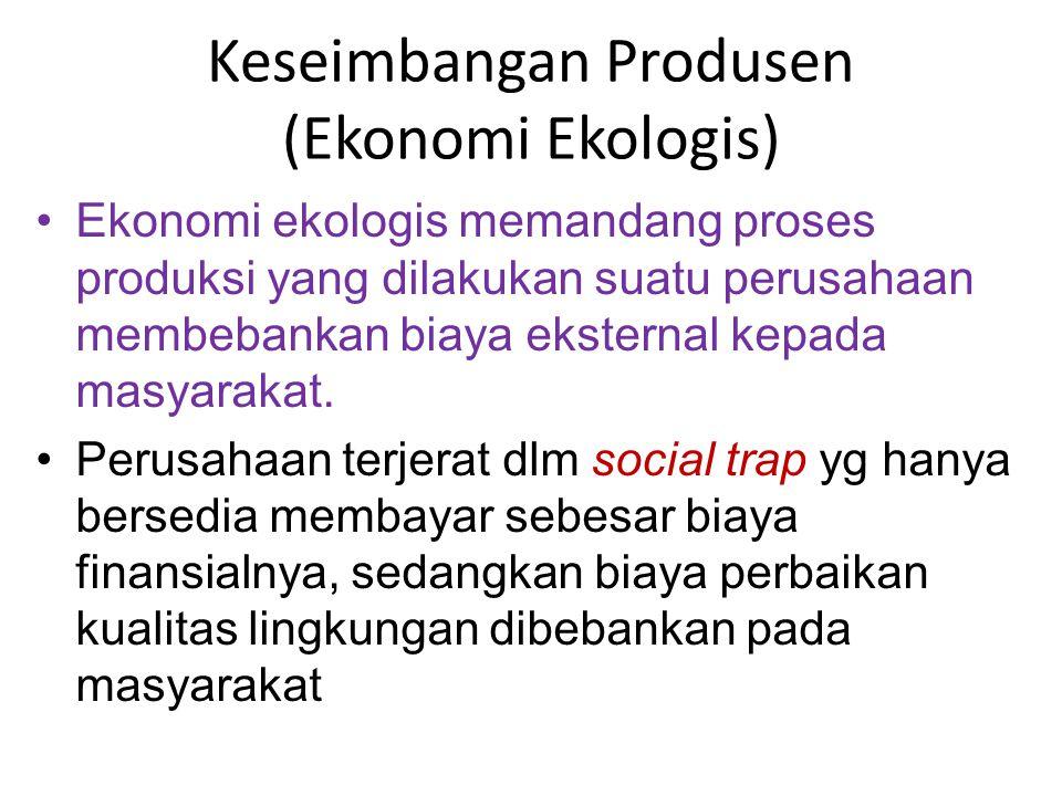 Ekonomi ekologis memandang proses produksi yang dilakukan suatu perusahaan membebankan biaya eksternal kepada masyarakat. Perusahaan terjerat dlm soci