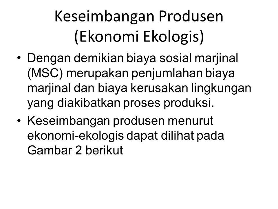 Dengan demikian biaya sosial marjinal (MSC) merupakan penjumlahan biaya marjinal dan biaya kerusakan lingkungan yang diakibatkan proses produksi. Kese