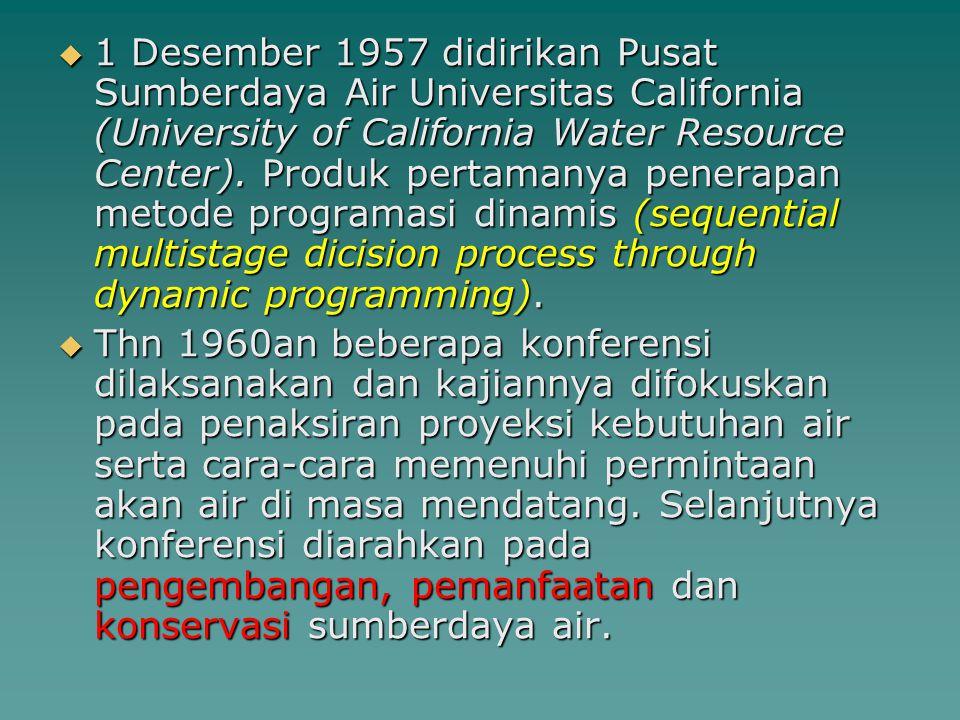  Thn 1965 konferensi membahas masalah- masalah khusus dalam penelitian sumberdaya air yakni : analisis ekonomi, manajemen air, masalah penilaian, realokasi air, masalah-masalah administratif dan politis, hidrologi dan enginering, serta program-program dan kebutuhan-kebutuhan penelitian.