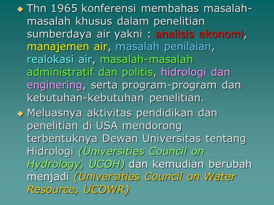  Thn 1965 konferensi membahas masalah- masalah khusus dalam penelitian sumberdaya air yakni : analisis ekonomi, manajemen air, masalah penilaian, rea