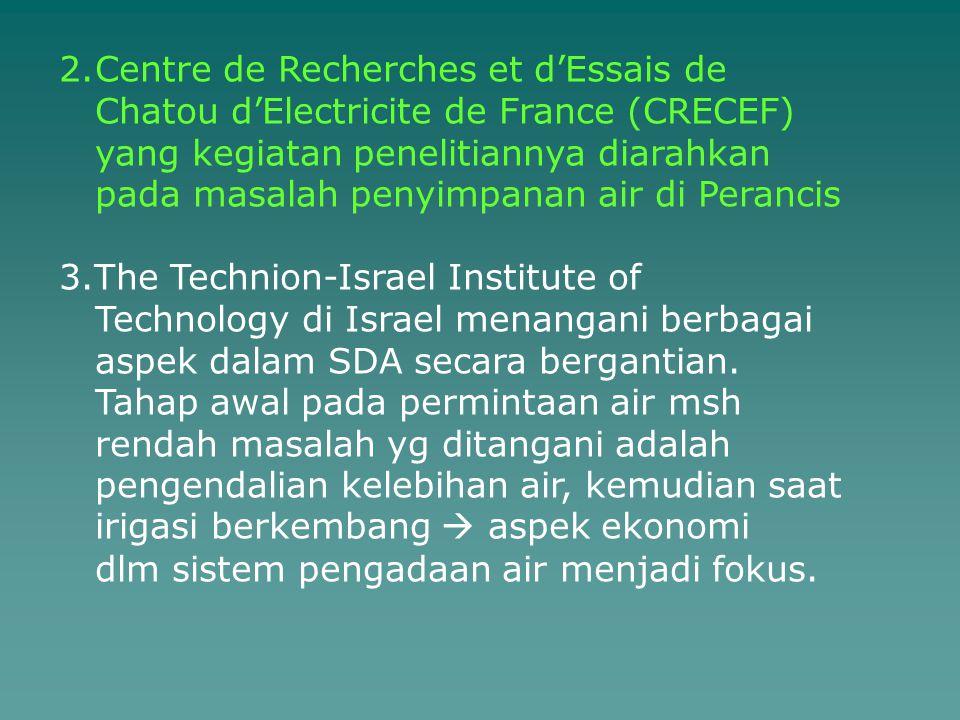 2.Centre de Recherches et d'Essais de Chatou d'Electricite de France (CRECEF) yang kegiatan penelitiannya diarahkan pada masalah penyimpanan air di Pe