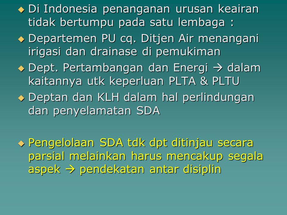  Di Indonesia penanganan urusan keairan tidak bertumpu pada satu lembaga :  Departemen PU cq. Ditjen Air menangani irigasi dan drainase di pemukiman