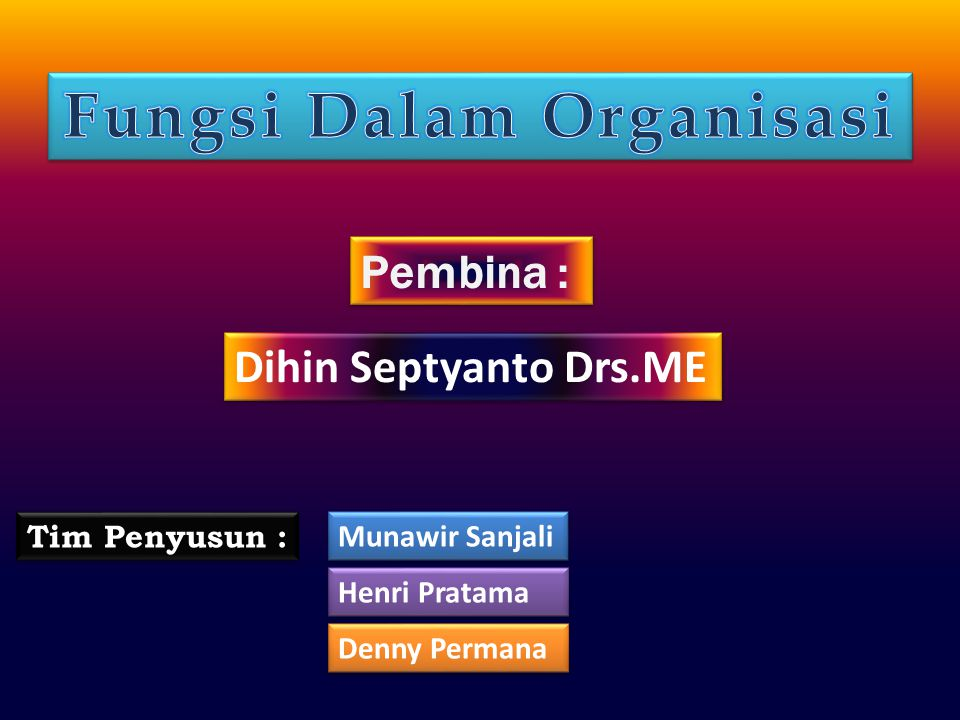 Pembina : Dihin Septyanto Drs.ME Tim Penyusun : Munawir Sanjali Henri Pratama Denny Permana