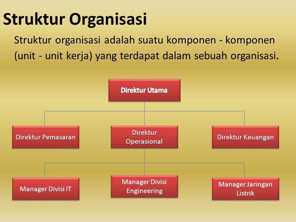 Struktur Organisasi Struktur organisasi adalah suatu komponen - komponen (unit - unit kerja) yang terdapat dalam sebuah organisasi. Direktur Operasion