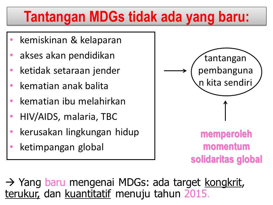 Keberadaan MDGs MDGs bukan tujuan pembangunan PBB MDGs bukan sasaran pembangunan pemerintah saja Satu per satu sasaran MDGs tidak ada yang baru Pencapaian MDGs berlangsung di tingkat lokal