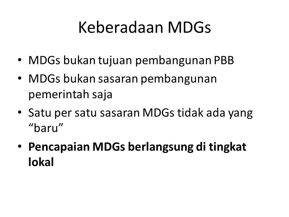 """Keberadaan MDGs MDGs bukan tujuan pembangunan PBB MDGs bukan sasaran pembangunan pemerintah saja Satu per satu sasaran MDGs tidak ada yang """"baru"""" Penc"""