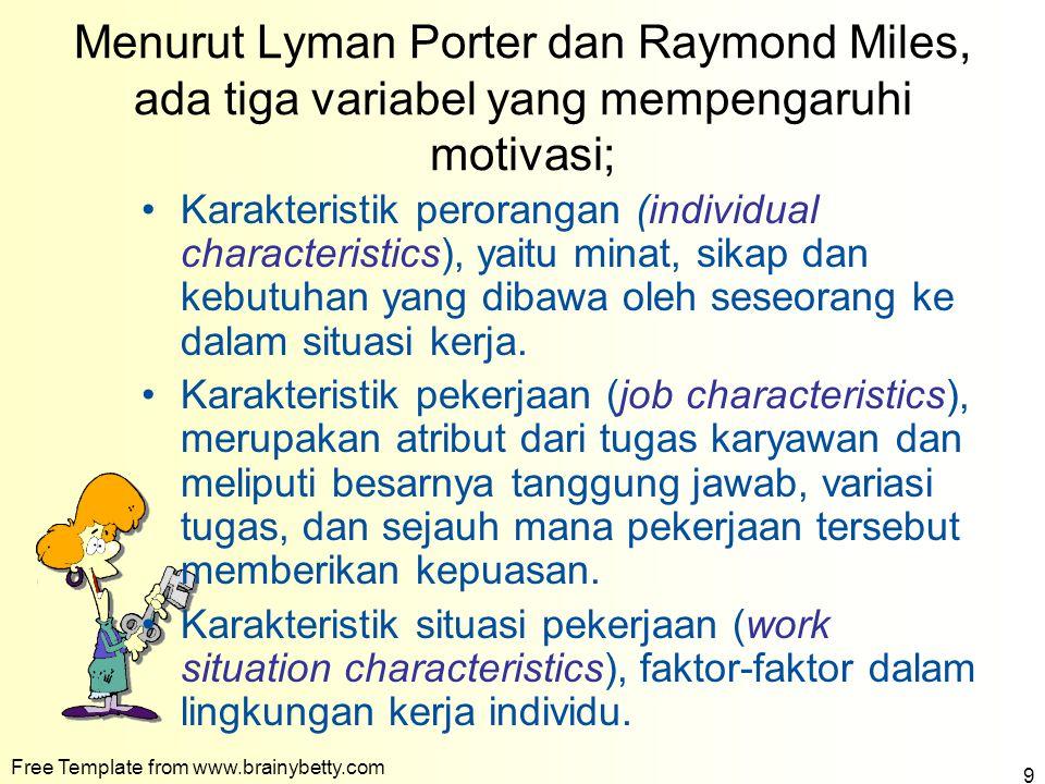 Menurut Lyman Porter dan Raymond Miles, ada tiga variabel yang mempengaruhi motivasi; Karakteristik perorangan (individual characteristics), yaitu min