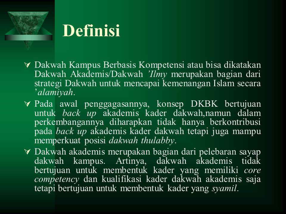 Definisi  Dakwah Kampus Berbasis Kompetensi atau bisa dikatakan Dakwah Akademis/Dakwah 'Ilmy merupakan bagian dari strategi Dakwah untuk mencapai kem