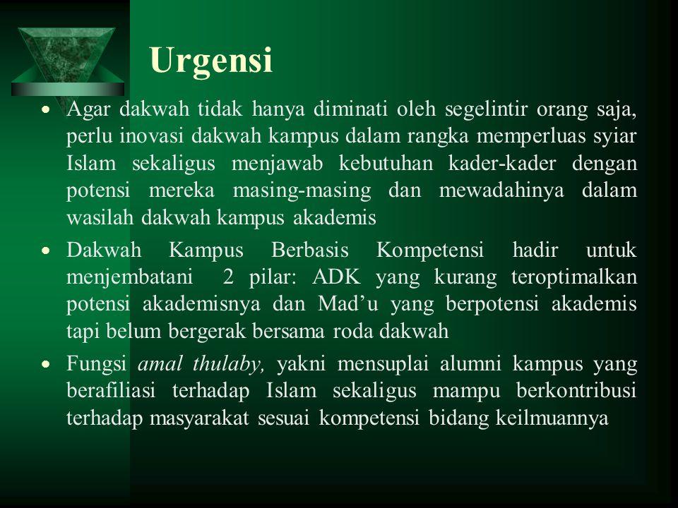 Urgensi  Agar dakwah tidak hanya diminati oleh segelintir orang saja, perlu inovasi dakwah kampus dalam rangka memperluas syiar Islam sekaligus menja
