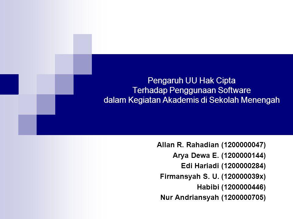 Pengaruh UU Hak Cipta Terhadap Penggunaan Software dalam Kegiatan Akademis di Sekolah Menengah Allan R. Rahadian (1200000047) Arya Dewa E. (1200000144