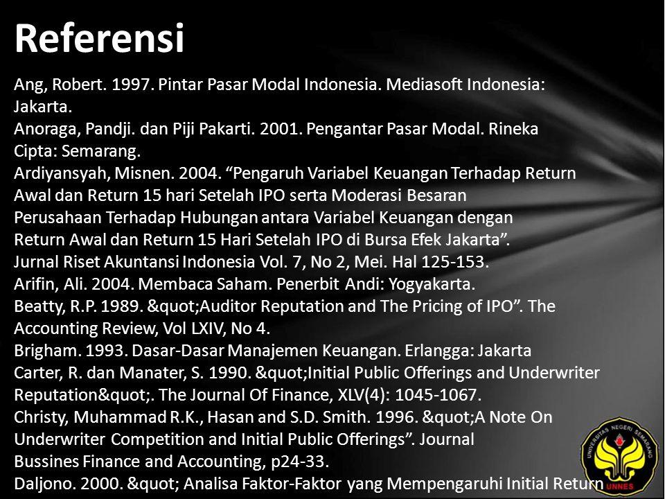 Referensi Ang, Robert. 1997. Pintar Pasar Modal Indonesia.