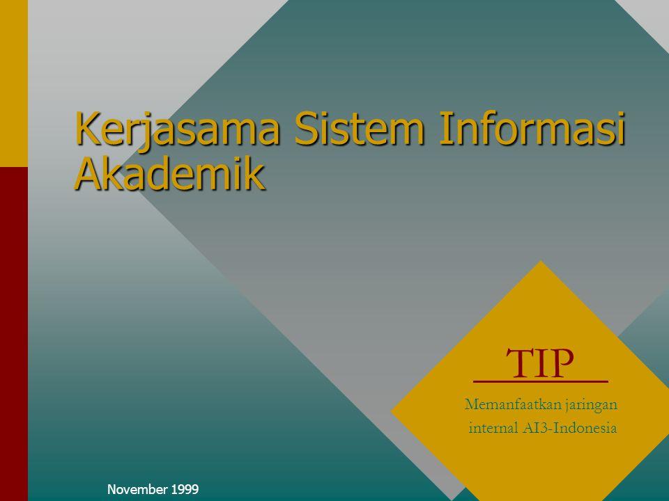 November 1999 Kerjasama Sistem Informasi Akademik TIP Memanfaatkan jaringan internal AI3-Indonesia