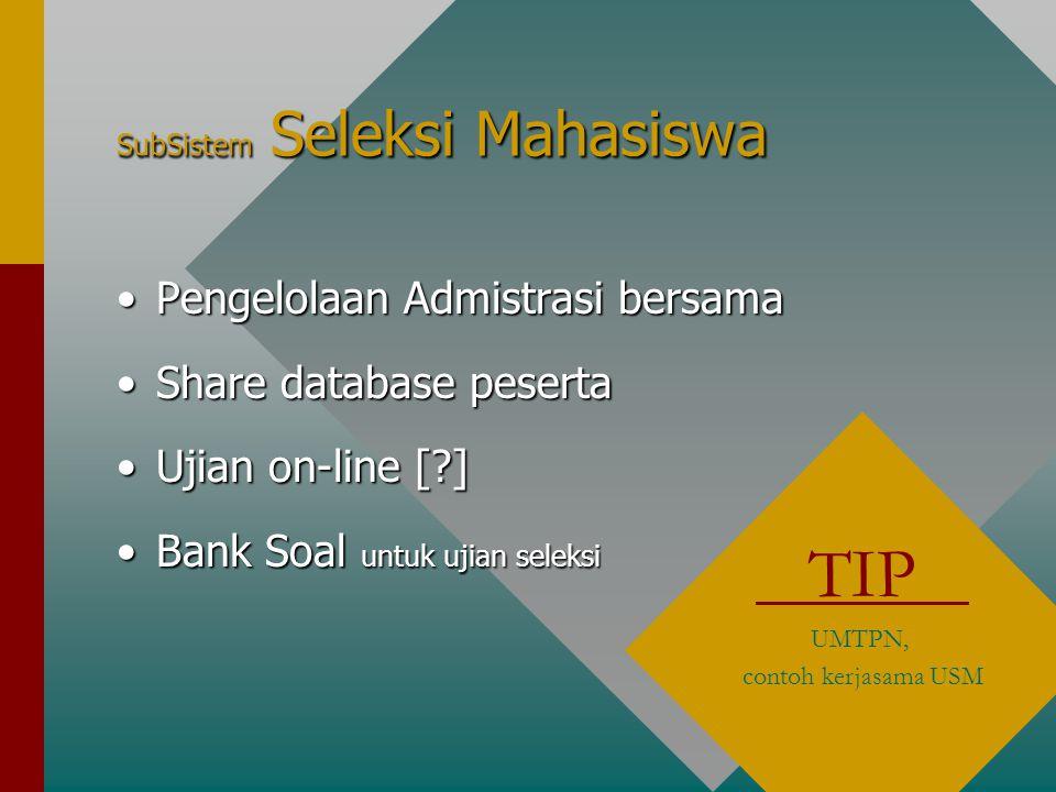 SubSistem Seleksi Mahasiswa Pengelolaan Admistrasi bersamaPengelolaan Admistrasi bersama Share database pesertaShare database peserta Ujian on-line [ ]Ujian on-line [ ] Bank Soal untuk ujian seleksiBank Soal untuk ujian seleksi TIP UMTPN, contoh kerjasama USM