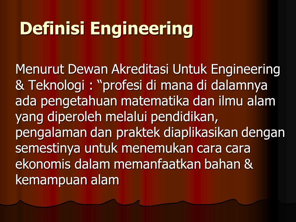 Alam Kerja Engineering & Engineer Seorang Insinyur menggunakan pengetahuan untuk merancang dan menghasilkan perangkat, struktur dan proses yang dapat digunakan Insinyur memiliki peluang yang hampir tak terbatas dalam menciptakan rancangan
