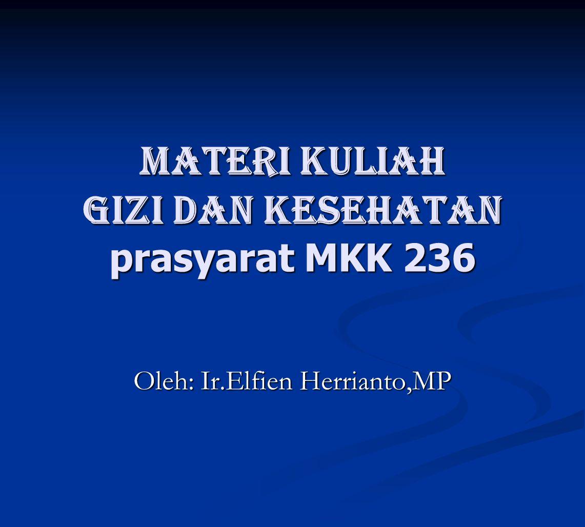 Materi kuliah GIZI DAN KESEHATAN prasyarat MKK 236 Oleh: Ir.Elfien Herrianto,MP