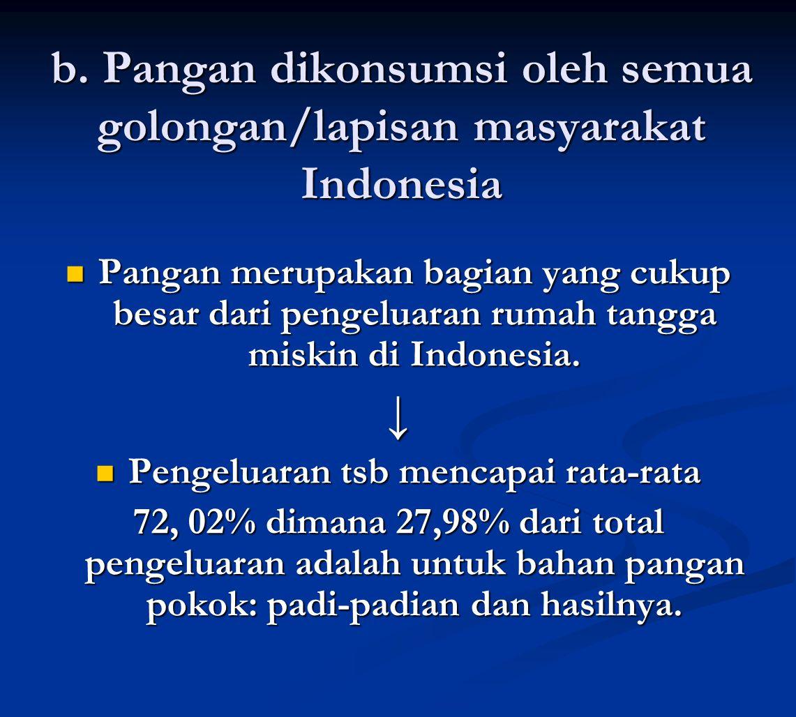 b. Pangan dikonsumsi oleh semua golongan/lapisan masyarakat Indonesia Pangan merupakan bagian yang cukup besar dari pengeluaran rumah tangga miskin di