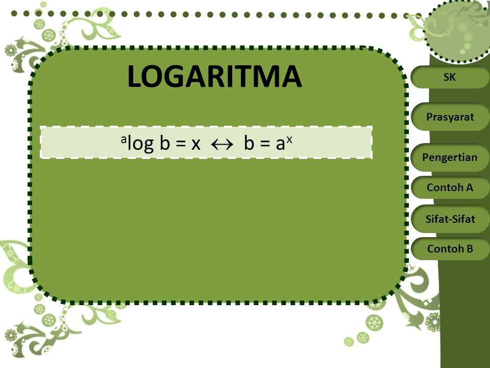 SK Prasyarat Pengertian Contoh A Sifat-Sifat Contoh B LOGARITMA a log b = x  b = a x
