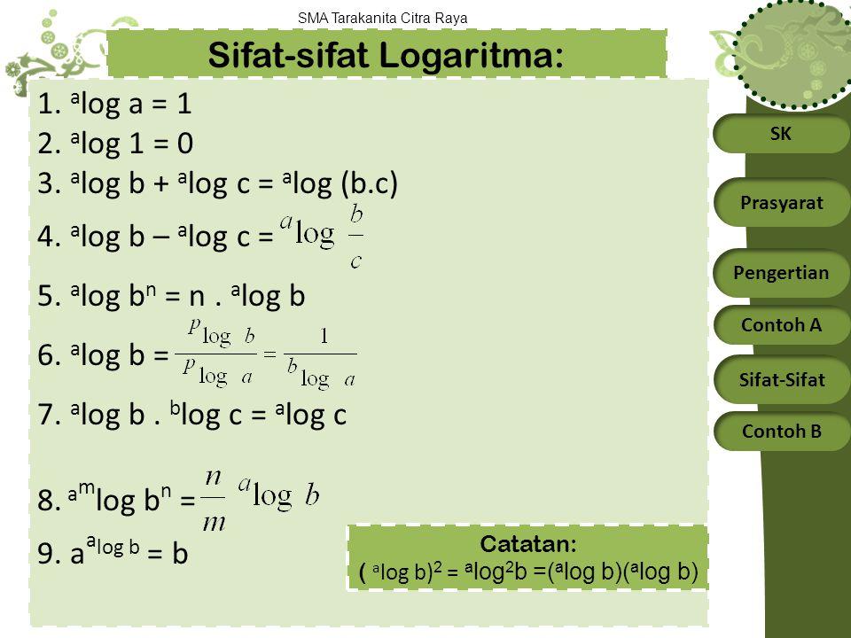 SK Prasyarat Pengertian Contoh A Sifat-Sifat Contoh B SMA Tarakanita Citra Raya Sifat-sifat Logaritma: 1. a log a = 1 2. a log 1 = 0 3. a log b + a lo