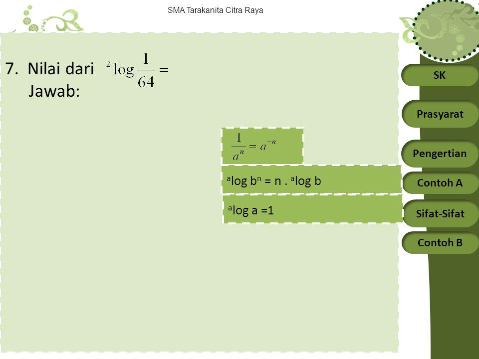 SK Prasyarat Pengertian Contoh A Sifat-Sifat Contoh B SMA Tarakanita Citra Raya 7. Nilai dari Jawab: a log b n = n. a log b a log a =1