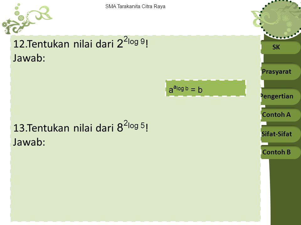 SK Prasyarat Pengertian Contoh A Sifat-Sifat Contoh B SMA Tarakanita Citra Raya 12.Tentukan nilai dari 2 2 log 9 ! Jawab: 13.Tentukan nilai dari 8 2 l
