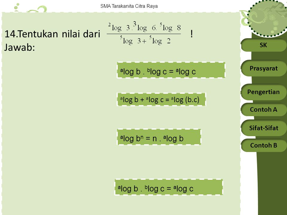 SK Prasyarat Pengertian Contoh A Sifat-Sifat Contoh B SMA Tarakanita Citra Raya 14.Tentukan nilai dari ! Jawab: a log b + a log c = a log (b.c) a log