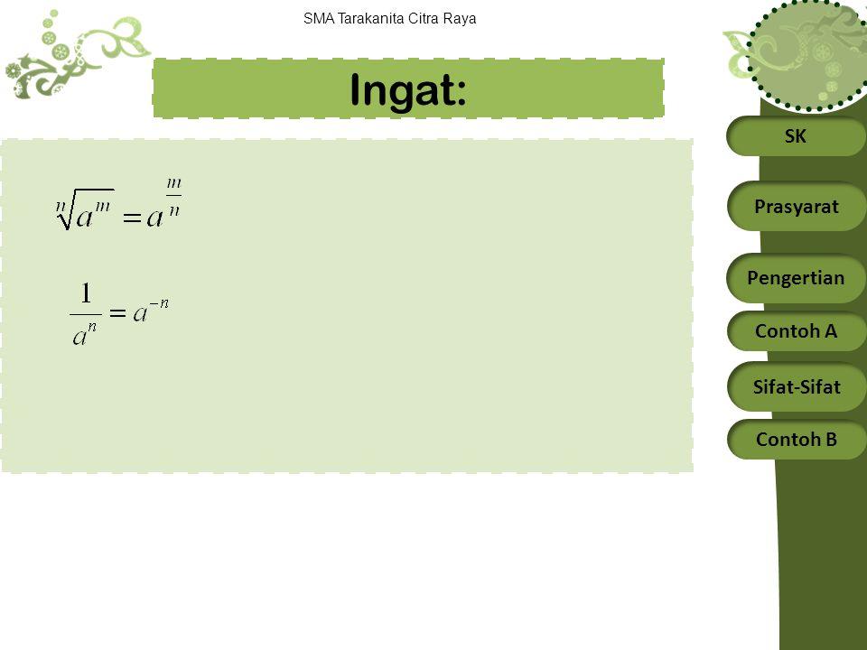 SK Prasyarat Pengertian Contoh A Sifat-Sifat Contoh B SMA Tarakanita Citra Raya Ingat: 5 3 = 125 Eksponen/pangkat basis/bilangan pokok 4 x = 64 x= .