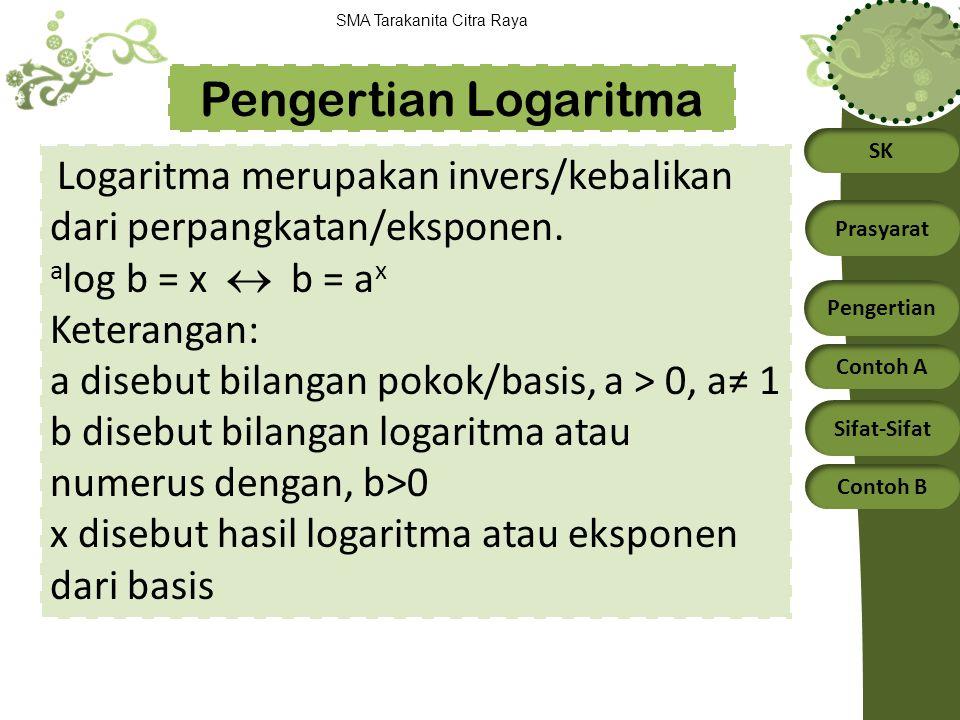 SK Prasyarat Pengertian Contoh A Sifat-Sifat Contoh B SMA Tarakanita Citra Raya Logaritma merupakan invers/kebalikan dari perpangkatan/eksponen. a log