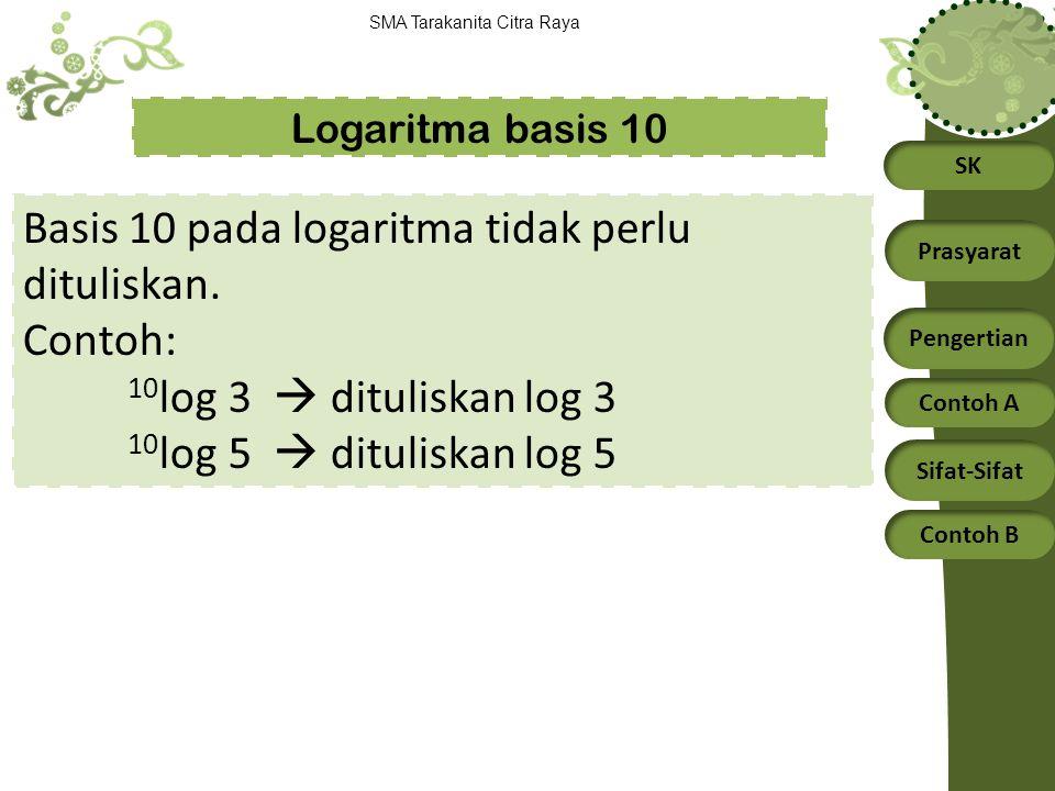 SK Prasyarat Pengertian Contoh A Sifat-Sifat Contoh B SMA Tarakanita Citra Raya 1.Nyatakan bentuk eksponen berikut menjadi bentuk logaritma: a.3 4 = 81 b.2 3 = 8 Jawab: Contoh: Ingat: a log b = x  b = a x