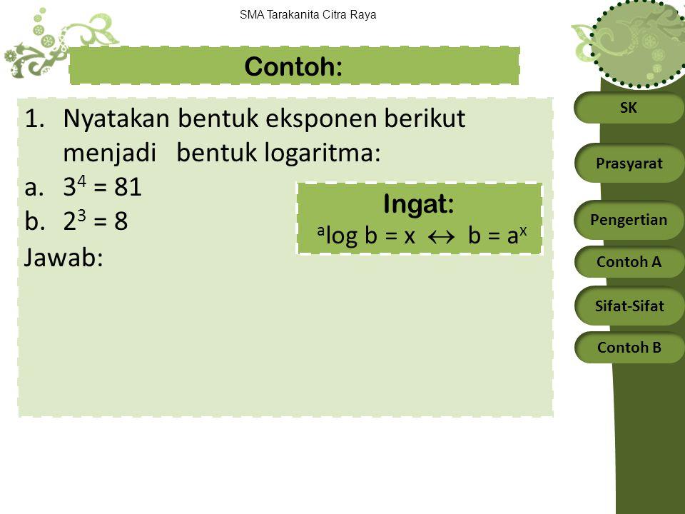 SK Prasyarat Pengertian Contoh A Sifat-Sifat Contoh B SMA Tarakanita Citra Raya 1.Nyatakan bentuk eksponen berikut menjadi bentuk logaritma: a.3 4 = 8