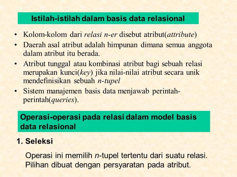 Kolom-kolom dari relasi n-er disebut atribut(attribute) Daerah asal atribut adalah himpunan dimana semua anggota dalam atribut itu berada.
