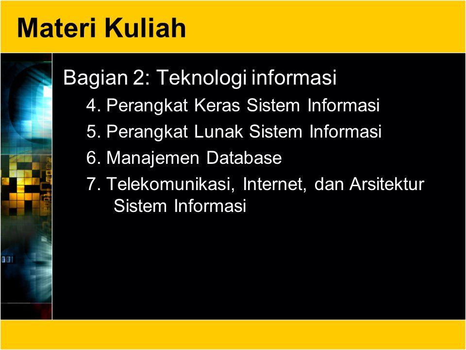 Materi Kuliah Bagian 2: Teknologi informasi 4. Perangkat Keras Sistem Informasi 5. Perangkat Lunak Sistem Informasi 6. Manajemen Database 7. Telekomun
