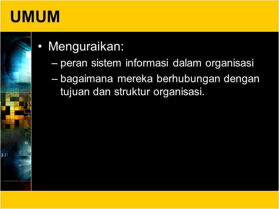UMUM Mengidentifikasi konsep-konsep dasar –sudut pandang sistem, –organisasi sistem, –sifat informasi dan aliran informasi, –dampak sistem terhadap manajemen dan organisasi, –pemrosesan informasi oleh manusia dan konsep-konsep kognitif yang terkait.