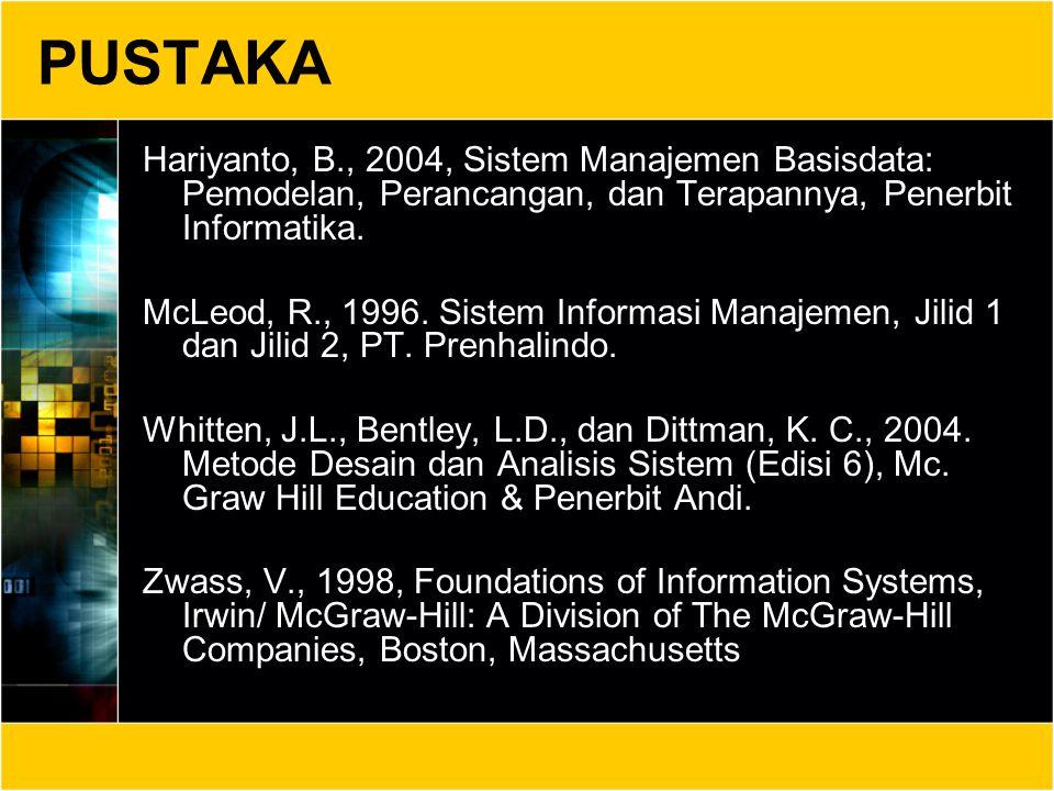 PUSTAKA Hariyanto, B., 2004, Sistem Manajemen Basisdata: Pemodelan, Perancangan, dan Terapannya, Penerbit Informatika. McLeod, R., 1996. Sistem Inform