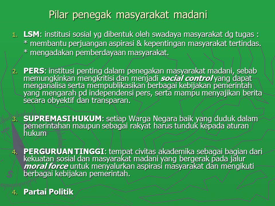 Pilar penegak masyarakat madani 1. LSM: institusi sosial yg dibentuk oleh swadaya masyarakat dg tugas : * membantu perjuangan aspirasi & kepentingan m