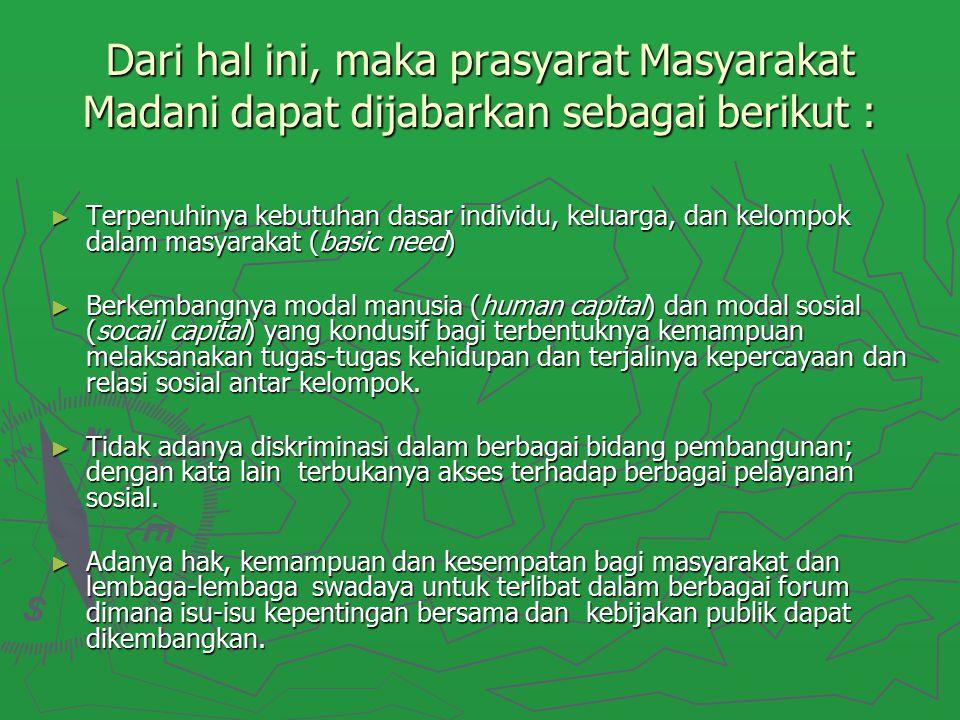 Dari hal ini, maka prasyarat Masyarakat Madani dapat dijabarkan sebagai berikut : ► Terpenuhinya kebutuhan dasar individu, keluarga, dan kelompok dala