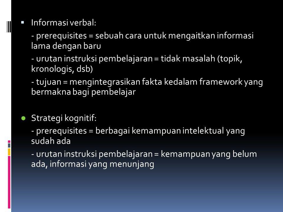  Informasi verbal: - prerequisites = sebuah cara untuk mengaitkan informasi lama dengan baru - urutan instruksi pembelajaran = tidak masalah (topik, kronologis, dsb) - tujuan = mengintegrasikan fakta kedalam framework yang bermakna bagi pembelajar ● Strategi kognitif: - prerequisites = berbagai kemampuan intelektual yang sudah ada - urutan instruksi pembelajaran = kemampuan yang belum ada, informasi yang menunjang