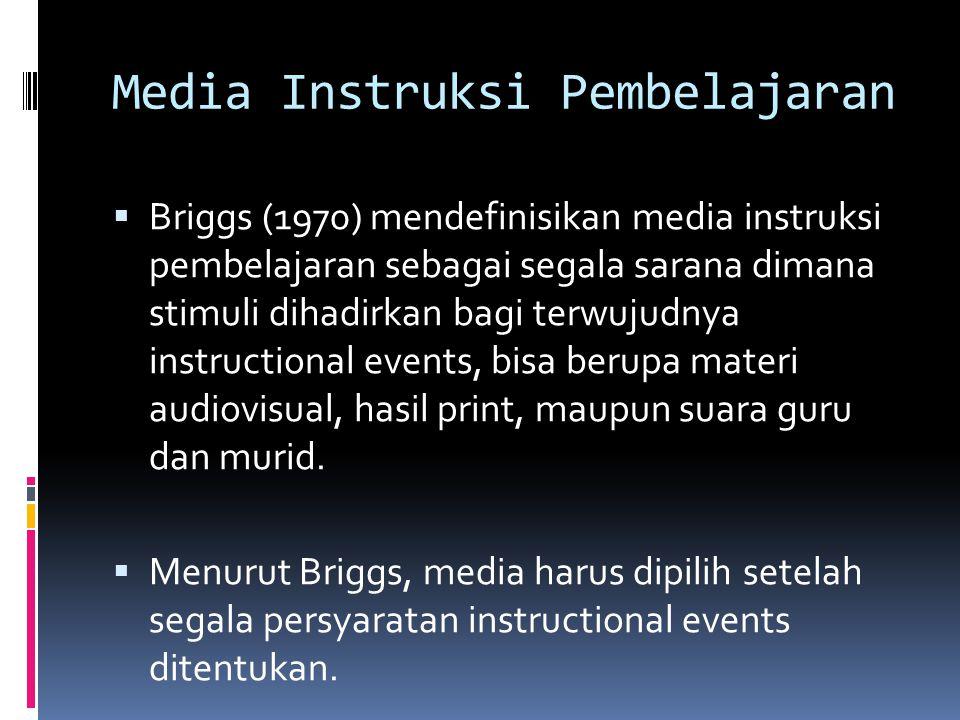 Media Instruksi Pembelajaran  Briggs (1970) mendefinisikan media instruksi pembelajaran sebagai segala sarana dimana stimuli dihadirkan bagi terwujud