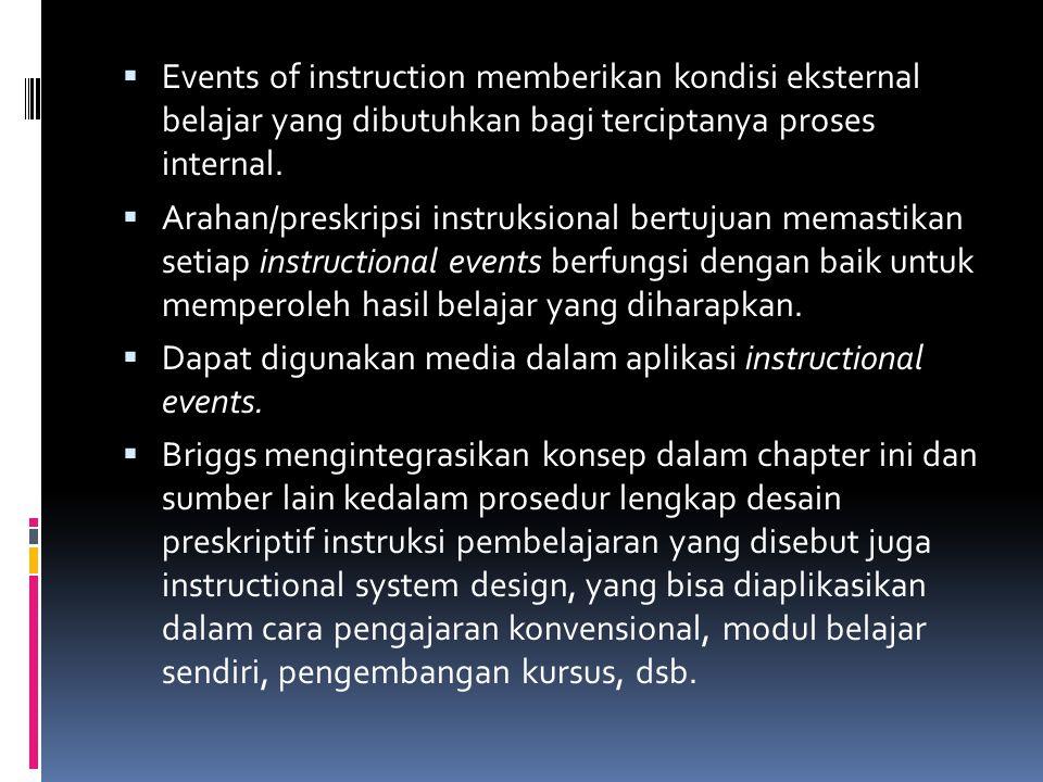  Events of instruction memberikan kondisi eksternal belajar yang dibutuhkan bagi terciptanya proses internal.  Arahan/preskripsi instruksional bertu