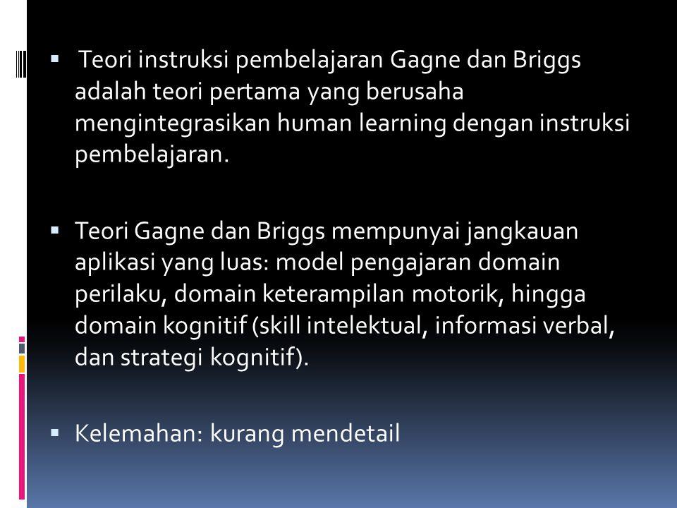  Teori instruksi pembelajaran Gagne dan Briggs adalah teori pertama yang berusaha mengintegrasikan human learning dengan instruksi pembelajaran.  Te