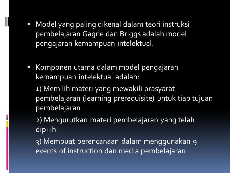  Model yang paling dikenal dalam teori instruksi pembelajaran Gagne dan Briggs adalah model pengajaran kemampuan intelektual.  Komponen utama dalam