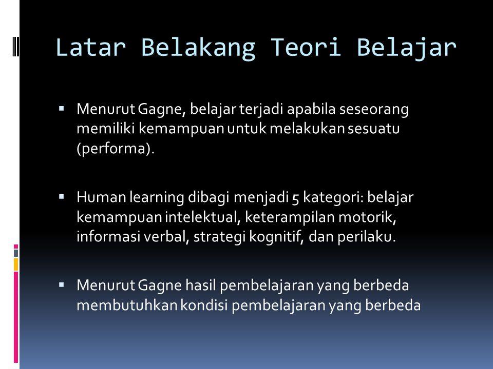 Latar Belakang Teori Belajar  Menurut Gagne, belajar terjadi apabila seseorang memiliki kemampuan untuk melakukan sesuatu (performa).  Human learnin