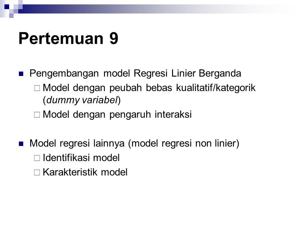 Pertemuan 9 Pengembangan model Regresi Linier Berganda  Model dengan peubah bebas kualitatif/kategorik (dummy variabel)  Model dengan pengaruh inter