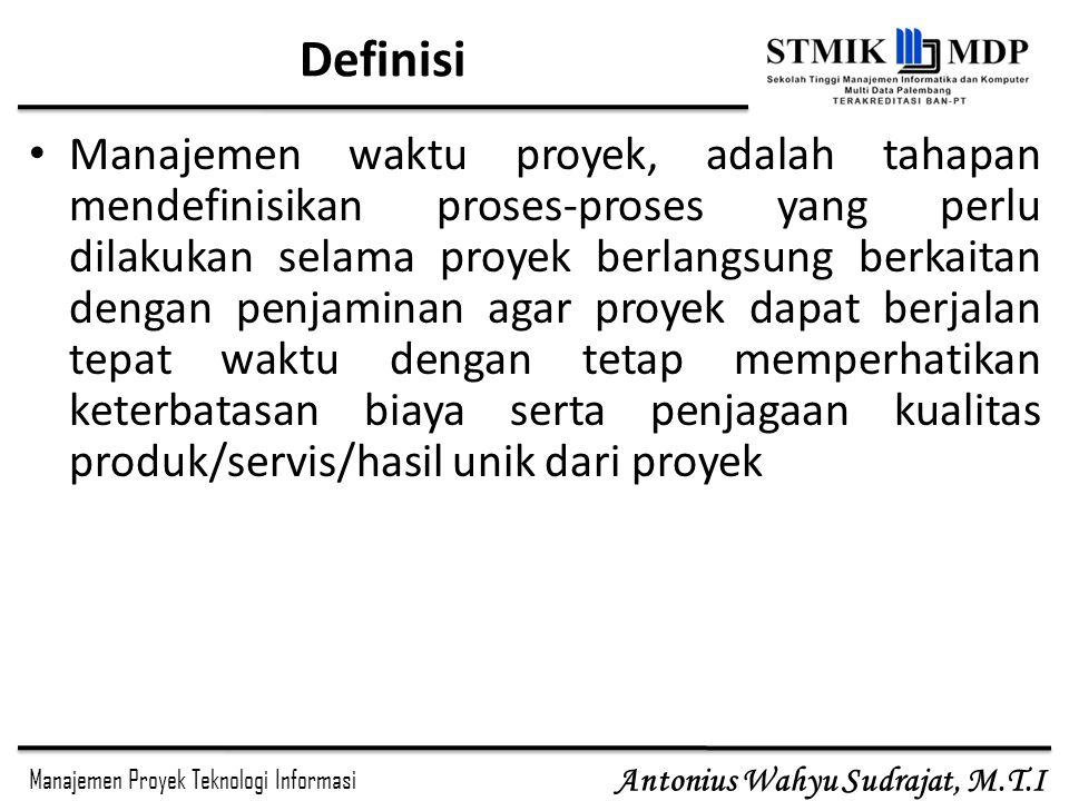 Manajemen Proyek Teknologi Informasi Antonius Wahyu Sudrajat, M.T.I Task Dependency Types