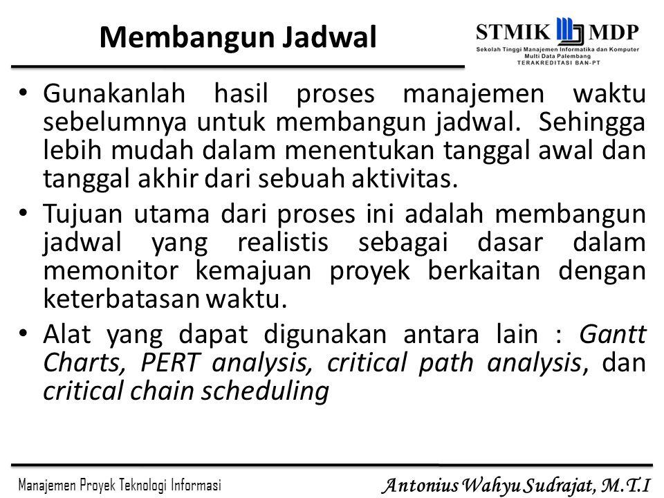 Manajemen Proyek Teknologi Informasi Antonius Wahyu Sudrajat, M.T.I Membangun Jadwal Gunakanlah hasil proses manajemen waktu sebelumnya untuk membangun jadwal.
