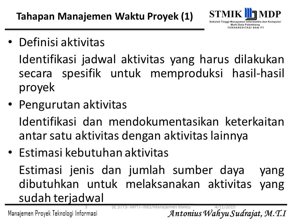 Manajemen Proyek Teknologi Informasi Antonius Wahyu Sudrajat, M.T.I Contoh 44