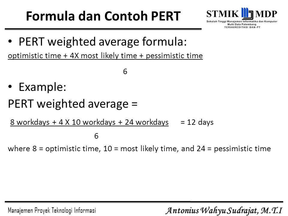Manajemen Proyek Teknologi Informasi Antonius Wahyu Sudrajat, M.T.I Formula dan Contoh PERT PERT weighted average formula: optimistic time + 4X most likely time + pessimistic time 6 Example: PERT weighted average = 8 workdays + 4 X 10 workdays + 24 workdays = 12 days 6 where 8 = optimistic time, 10 = most likely time, and 24 = pessimistic time