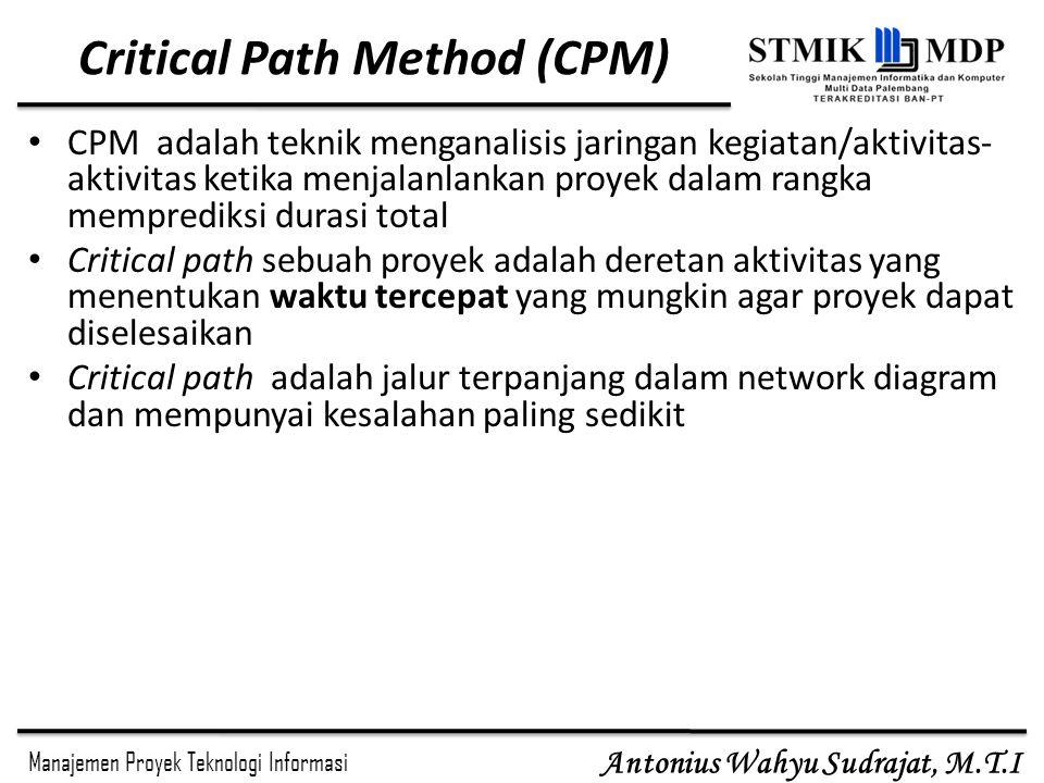 Manajemen Proyek Teknologi Informasi Antonius Wahyu Sudrajat, M.T.I Critical Path Method (CPM) CPM adalah teknik menganalisis jaringan kegiatan/aktivitas- aktivitas ketika menjalanlankan proyek dalam rangka memprediksi durasi total Critical path sebuah proyek adalah deretan aktivitas yang menentukan waktu tercepat yang mungkin agar proyek dapat diselesaikan Critical path adalah jalur terpanjang dalam network diagram dan mempunyai kesalahan paling sedikit