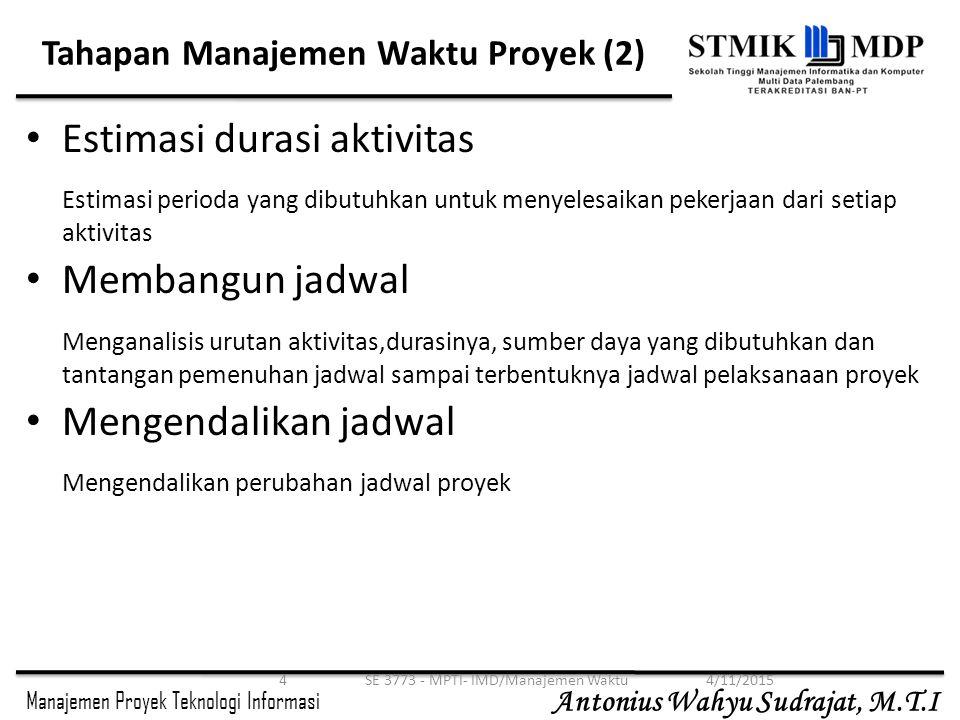 Manajemen Proyek Teknologi Informasi Antonius Wahyu Sudrajat, M.T.I Estimasi Durasi Aktivitas Setelah mendefinisikan aktivitas serta urutannya, langkah selanjutnya dalam manajemen adalah mengestimasi durasi yang dibutuhkan oleh aktivitas-aktivitas tsb.
