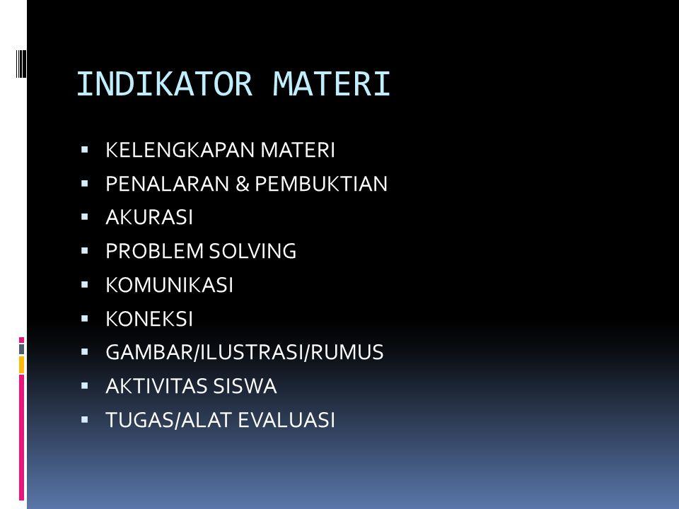 INDIKATOR MATERI  KELENGKAPAN MATERI  PENALARAN & PEMBUKTIAN  AKURASI  PROBLEM SOLVING  KOMUNIKASI  KONEKSI  GAMBAR/ILUSTRASI/RUMUS  AKTIVITAS